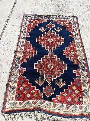 "ANTIQUE 1900s CAUCASIAN HAND KNOTTED WOOL CARPET RUG VERY RARE 68"" x 40"""