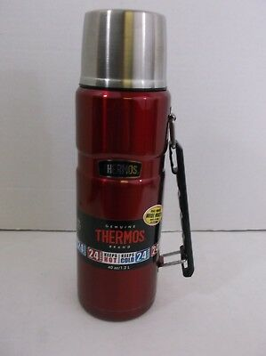 Thermos 40oz/1.2L Stainless Thermos New Red Hot/Cold Wide Mouth