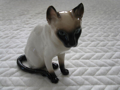 """Vintage Seal Point Siamese Cat Figurine--6"""" High--Made in Japan"""
