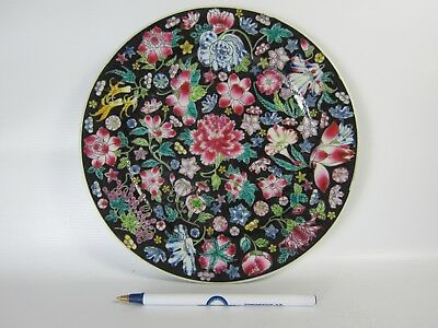 Chinese Famille Rose Porcelain Plate in Black Ground