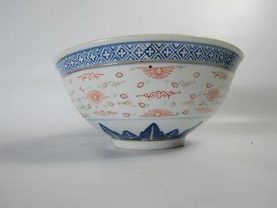 Large Chinese Blue and White Handpainted Porcelain Gilding Punch Bowls