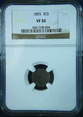 1855 Three Cent SIlver 3CS **NGC VF30**  Scarce Key Date   #SDR227