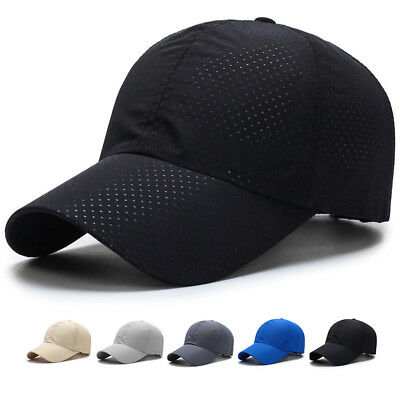 d3ed68eba5c US Summer Men Women Plain Golf Hat Mesh Breath Curved Visor Unisex Baseball  Cap