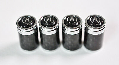 4Pcs Carbon Fiber Car Wheel Tire Air Valve Caps Stem Cover For Acura Emblem Gift