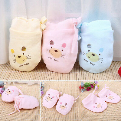 Cotton Newborn Baby Anti Scratching Gloves Protection Face Scratch Mittens 0-3M