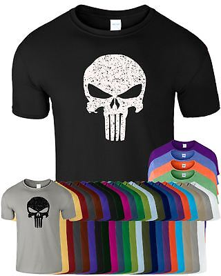 Punisher The Skull Mens Body Fit T-Shirt Gym Bodybuilding Adult Training Top