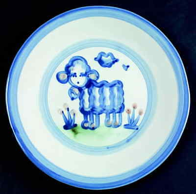 M A Hadley COUNTRY SCENE BLUE Lamb Luncheon Plate 5757480