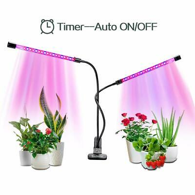 Led Plant Grow Light Dual Head 2 Dimmable Levels Lamp Bulbs 360 Degree Gooseneck