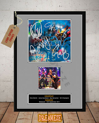 COLDPLAY SIGNED Photo Print PARADISE 2011 FREE Postage