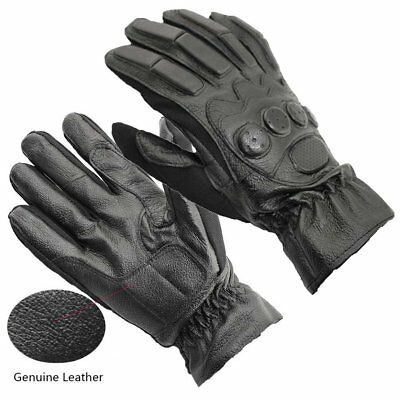 Genuine Leather Gloves Men Male Motorcycle Car Racing Riding Knuckle Protection
