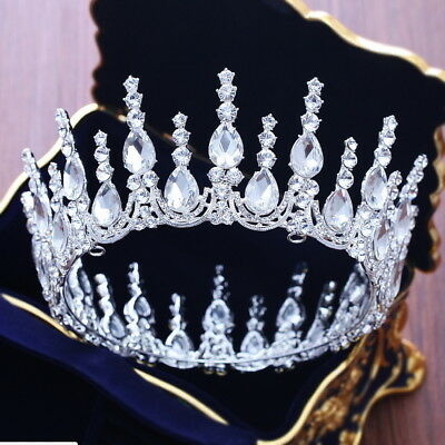 Drip Crystal Queen Crown Wedding Prom Party Pageant 12cm Diameter 3 Colours