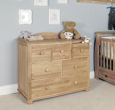 Amelia Children's Baby Changer Chest of Drawers Oak Wood