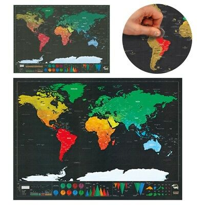 New Scratch Off Map Of The World Paper Travel Journal Poster Home Decoration