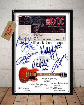 Acdc Black Ice Tour 2009 Concert Ticket Stub Autographed Signed Photo Print