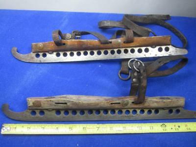 "Long Pair of Antique Speed Skating Ice Skates 15 3/8"" Blades, w/Leather    (A10)"