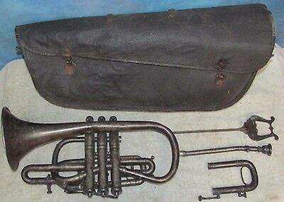 Antique Vintage 1896 CG CONN WONDER Cornet 34733 w/Case Horn Trumpet J0514