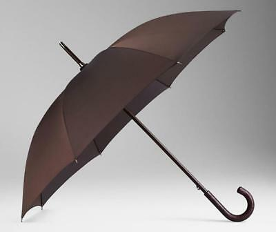 New Burberry Ultra Luxe Alligator Leather Handle Brown Walking Umbrella