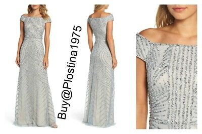 Nwt 329 Adrianna Papell Off The Shoulder Beaded Gown Bluesilver