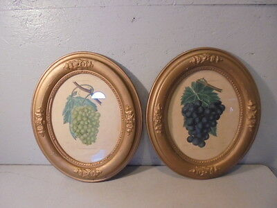 Pair Of Antique Gold Gilt Gesso Oval Wall Frames W/Prints By Thomas Kelly 1830