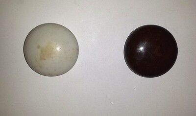 """Two Vintage White And A Brown Enamel/porcelain Door Knobs  Approx. 2"""" Diameter"""