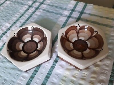 Vintage 1970's Jersey Pottery Brown Retro Flower Small Dish Pin Tray Ashtray