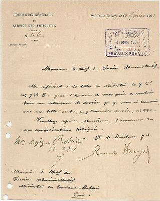 EGYPT ÄGYPTEN 1901 RARE LETTER SIGNED BY GERMANY Émile Brugsch