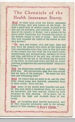 Political Satire Postcard, Chronicle of the Health Insurance Stamp PPC 1912 PMK