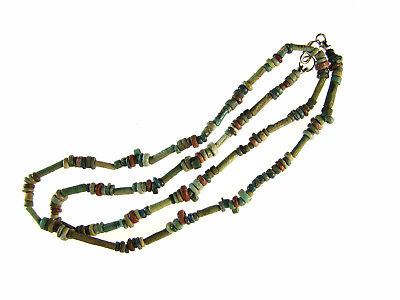 Egyptian Mummy Bead Necklace, Blues & Reds, 19 inches,c 600-300 BC or Earlier