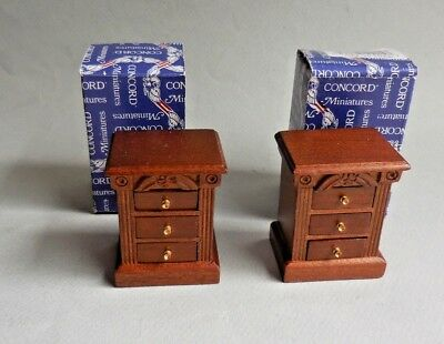 Dollhouse Miniature ~ Pair Of 3 Draw End Tables ~ Retired Concord