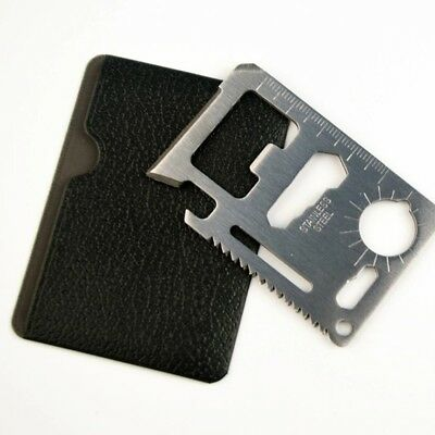 2x 11-IN-1 CREDIT CARD WALLET PURSE POCKET MULTI FUNCTION TOOL SURVIVAL CAMPING