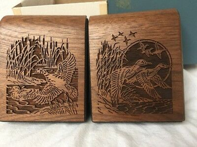 Lasercraft Waterfowl Wood Bookends Rolltop Laser Engraved Mid Century Modern