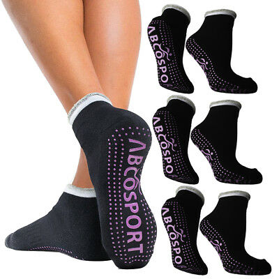 4pk Black Pilates Or Yoga Socks For Women Or Men Pink Nonslip Grip Soles Bulk