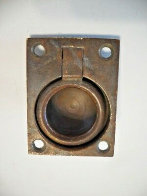 Architectural & Garden Vintage Nos Brass Ring Pull Flush Mount Inset Type Solid Cast Rectangular Base Last Style Antiques