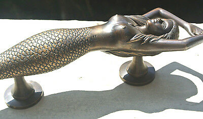 """large MERMAID solid brass door PULL old style heavy house PULL handle 15"""" aged B"""