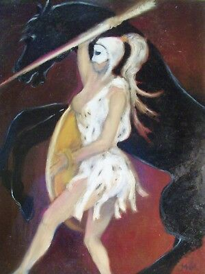 Original oil painting by artist Amazon with Black Horse 16 x20 inches