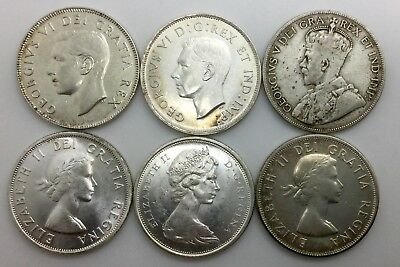 Canada 50 Cents Lot Of 6 Different Dates Types 1917 To 1965 Nice Lot of Six