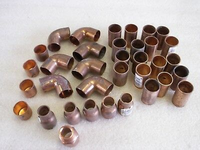 """35 Copper Fittings 3/4"""" Mixed Lot 18 Couplings 7 Elbow 5 Reducers 4 Caps  (CU24)"""