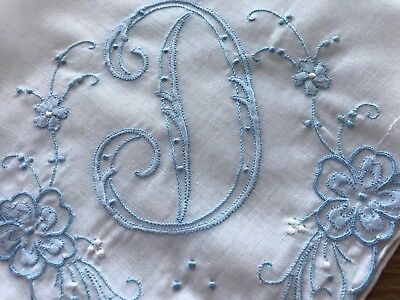 A+ Madeira Style Vintage Hankie Hand Embroidered Blue Monogram D Wedding
