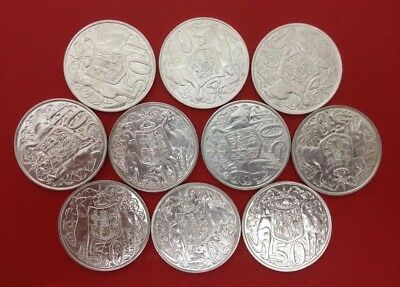 10 x 1966 Australia Round 50c Silver (80%) Coin - Good condition