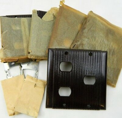 5 Vtg Brown Bakelite Ribbed 2 Gang 3 Despard Style Switch Wall Plate Cover Lot