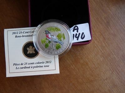 CANADA 2012 25 cent COLOURED ROSE BREASTED GROSBEAK SPECIAL EDITION COA CASET775