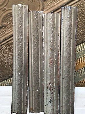 """4pc Lot of 24"""" by 3.5"""" Antique Ceiling Tin Vintage Reclaimed Salvage Art Craft"""