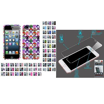 For Apple iPhone 5/5S/SE Design Snap-On Hard Case Phone Cover + Tempered Glass
