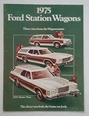 Vintage 1975 Ford Station Wagons 12 Page Car Auto Sales Brochure Free Shipping