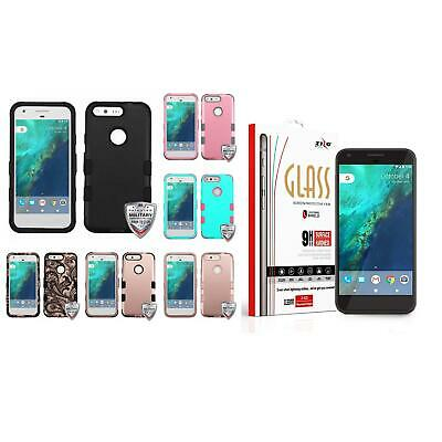 For Google Pixel XL Hybrid TUFF Phone Case Hard Rugged Cover + Tempered Glass