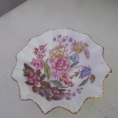 Lovely Adderley butter bone china pin dish hand colored floral pattern