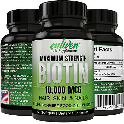 Biotin 10,000 MCG Maximum Strength Hair, Skin, Nails Supports Healthy Metabolism