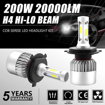 H4 HB2 9003 200W 30000LM COB LED Headlight Kit High/Low Beam Bulb Lampade 6500K