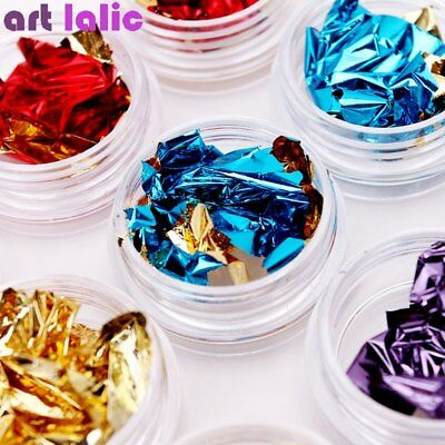 12 Nail Art Double Side Glitter Aluminum Foil 3D Flake Sticker Cover Laser DIY