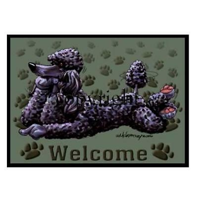 Black Poodle Dog Breed Paws Cartoon Artist Welcome Doormat Floor Door Mat Rug